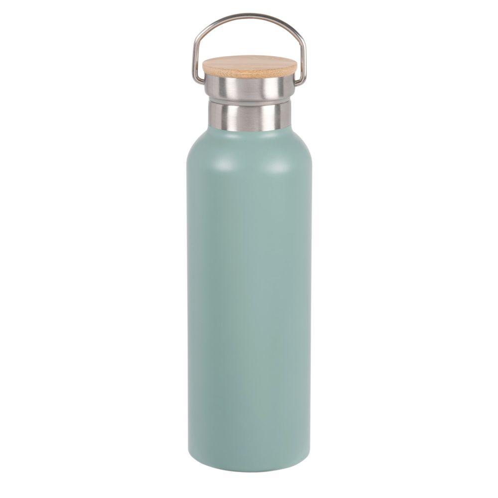 Bouteille isotherme en acier inoxydable vert et bambou 0.5L