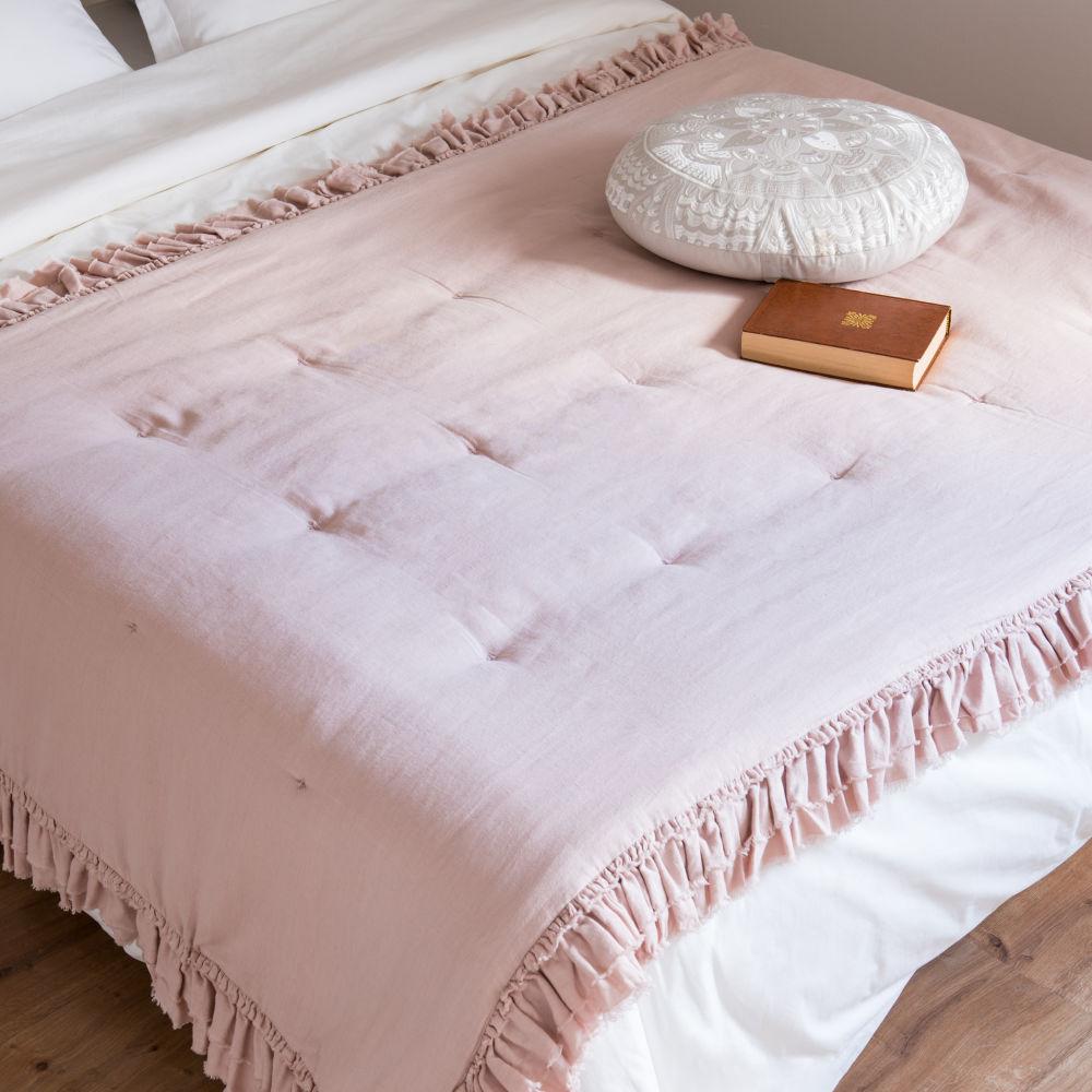 Boutis en coton et lin rose 100x200