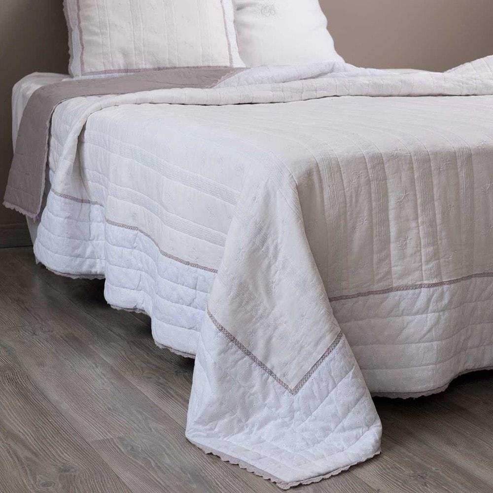 Boutis en lin blanc 240 x 260 cm