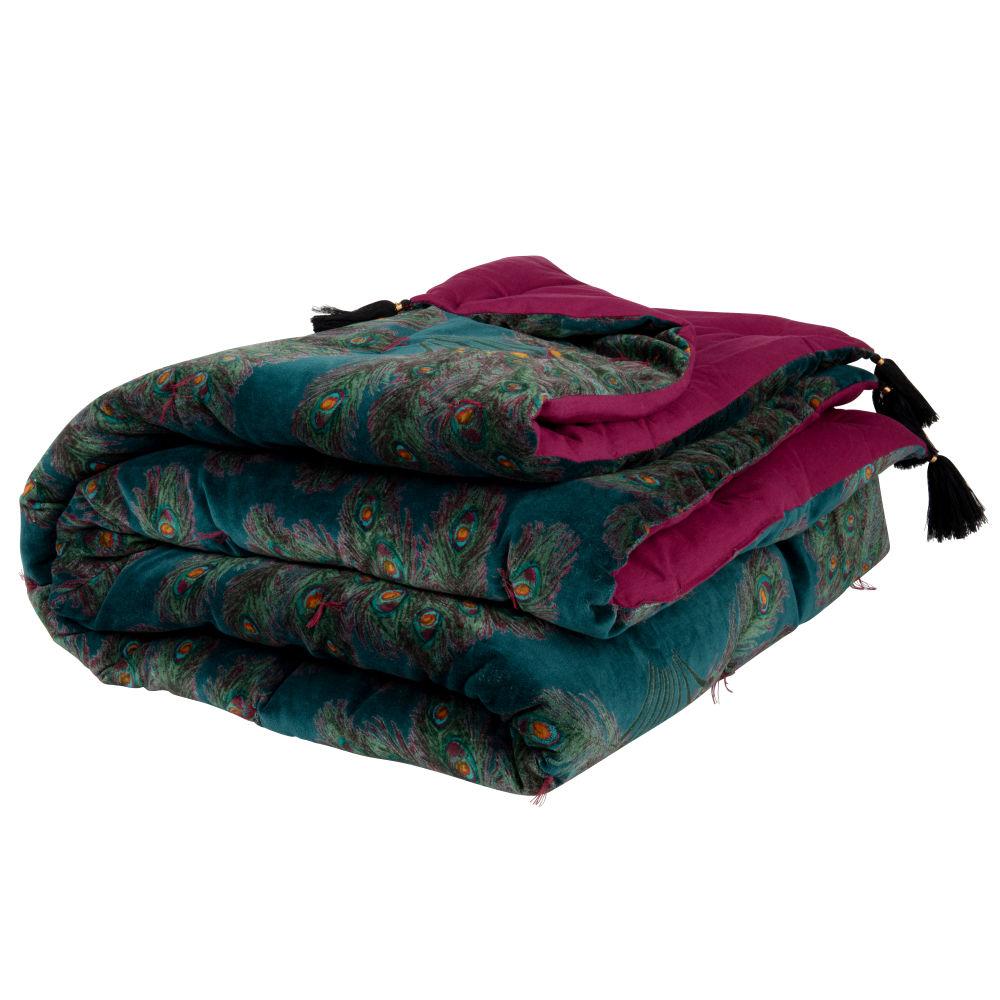 Boutis en velours de coton imprimé plumes de paon violet, bleu et vert 100x200