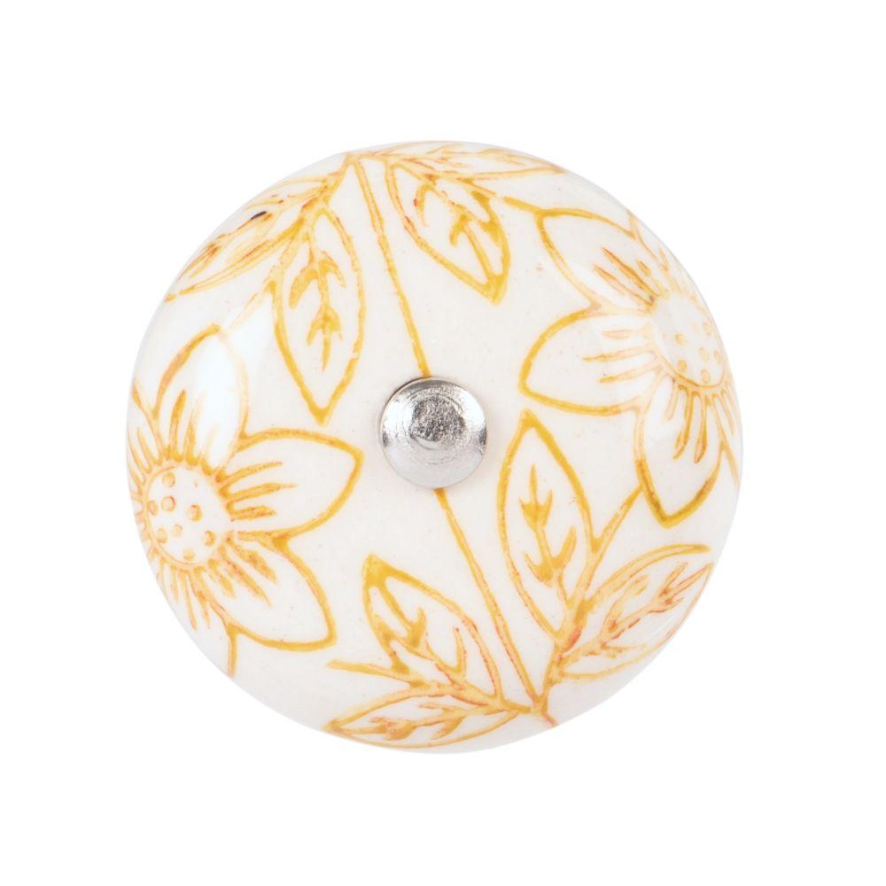 Bouton de porte en céramique blanche motifs fleurs jaunes