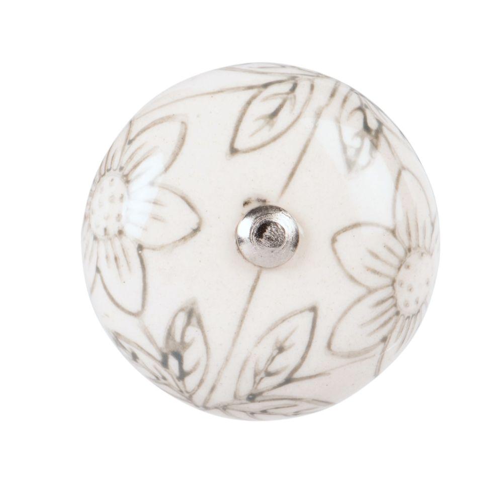 Bouton de porte en céramique blanche motifs fleurs noires
