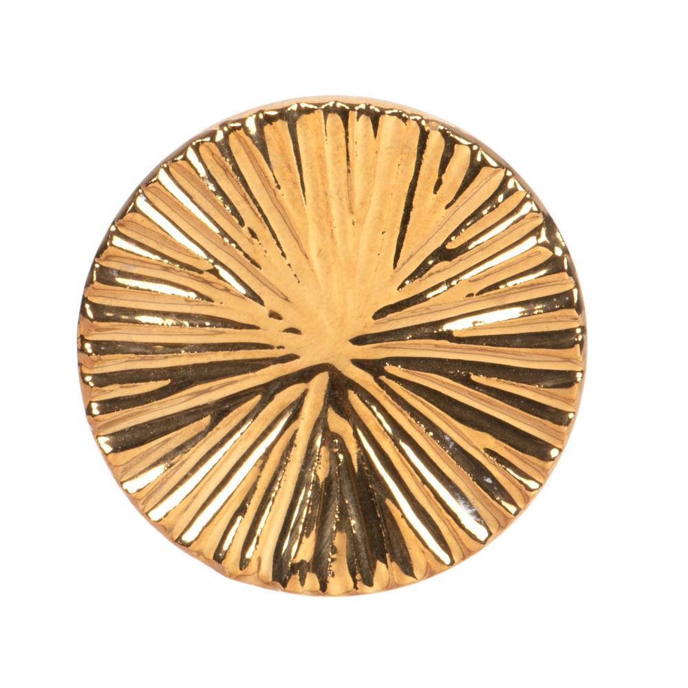Bouton de porte en céramique gravée stries dorées