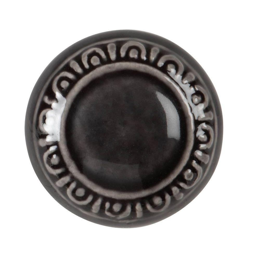 Bouton de porte en grès noir