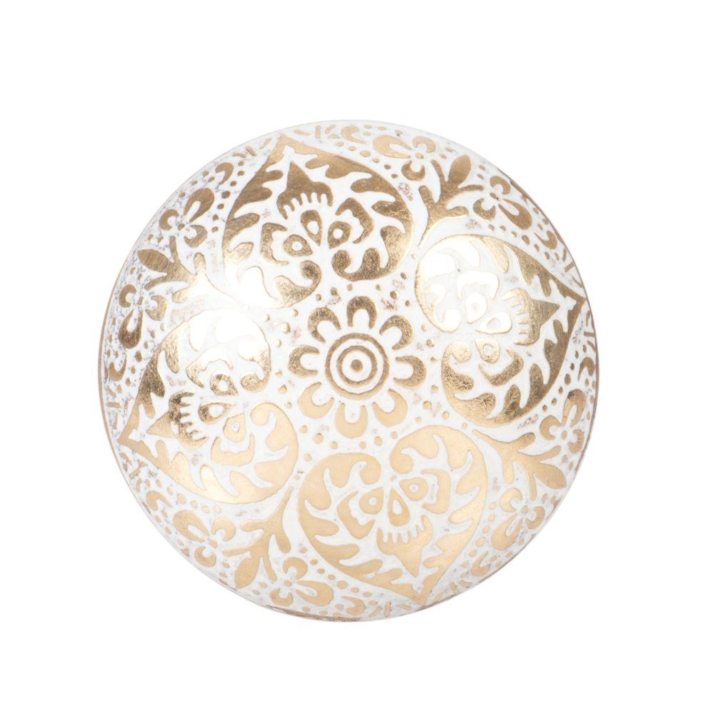 Bouton de porte en laiton motifs blancs