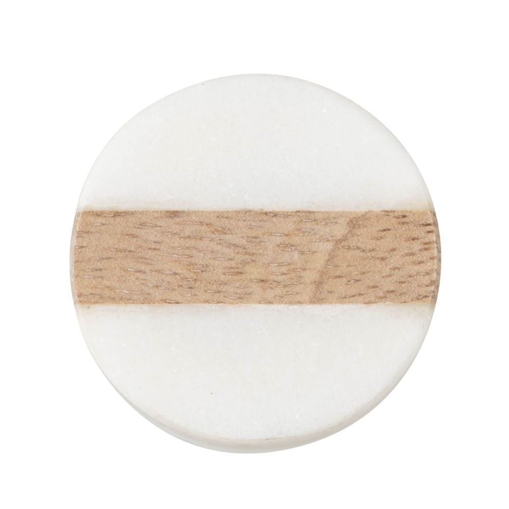 Bouton de porte en manguier et marbre blanc