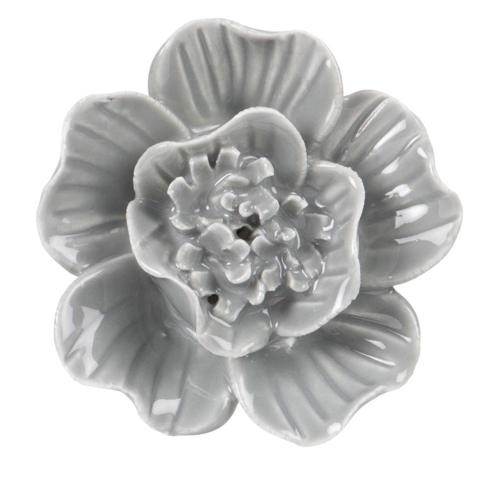 Bouton de porte fleur en céramique grise