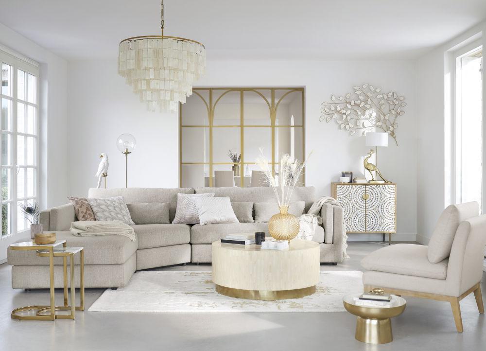 Bouts de canapé en marbre blanc et acier doré