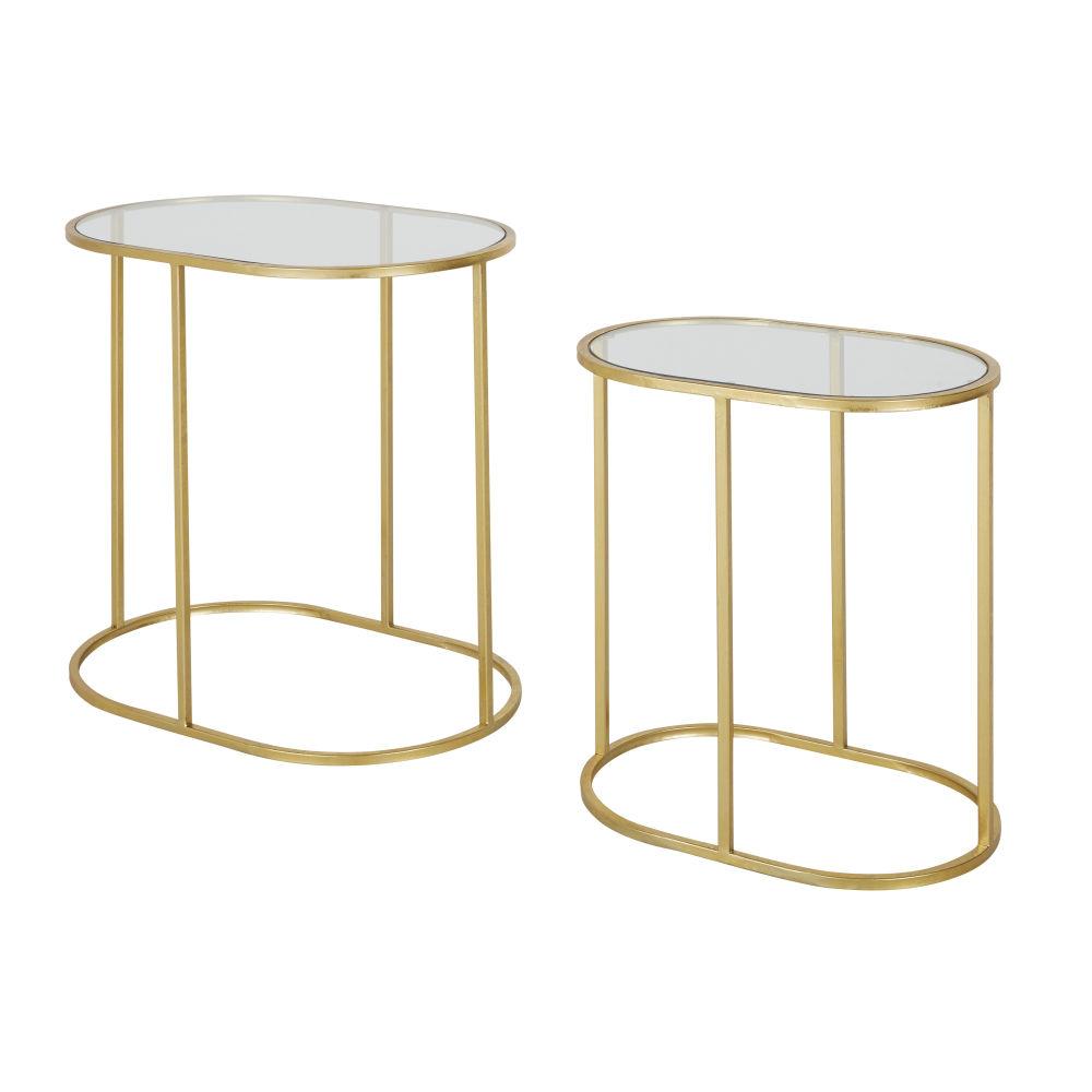 Bouts de canapé en verre et en métal doré (x2)