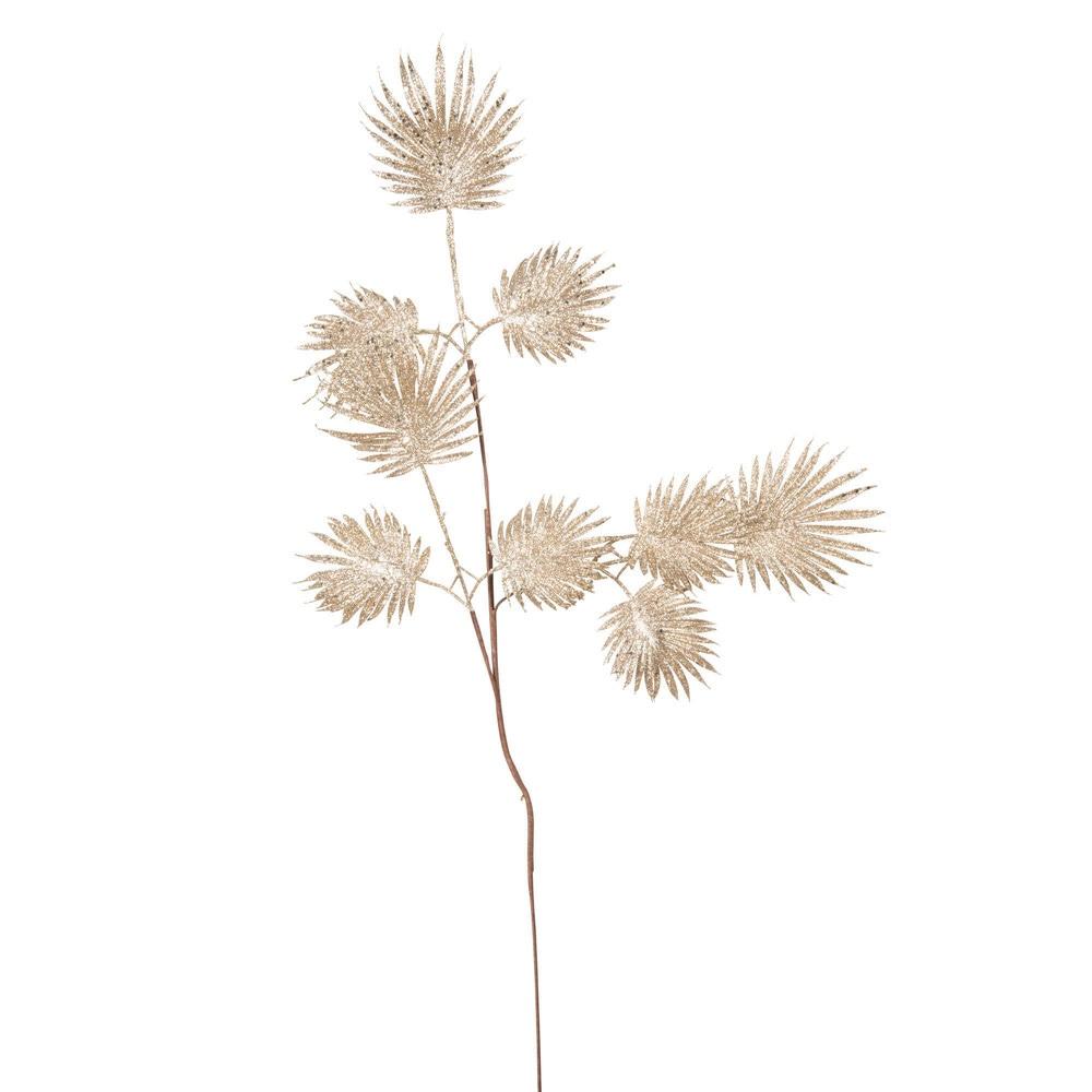 Branche artificielle à paillettes beige doré
