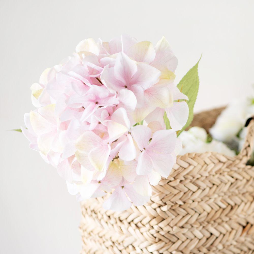 Branche d'hortensia artificielle vieux rose