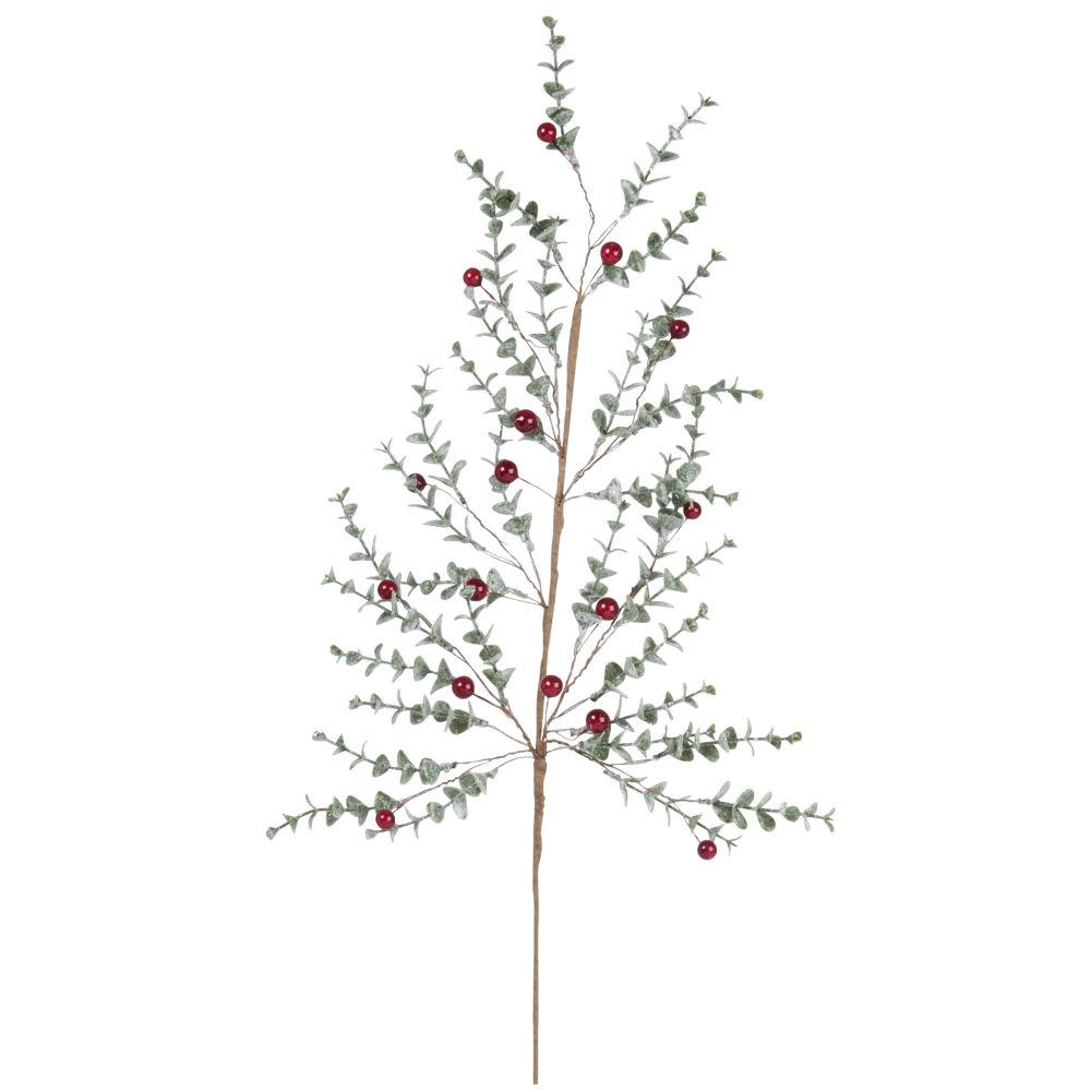 Branche de Noël effet givré vert et rouge