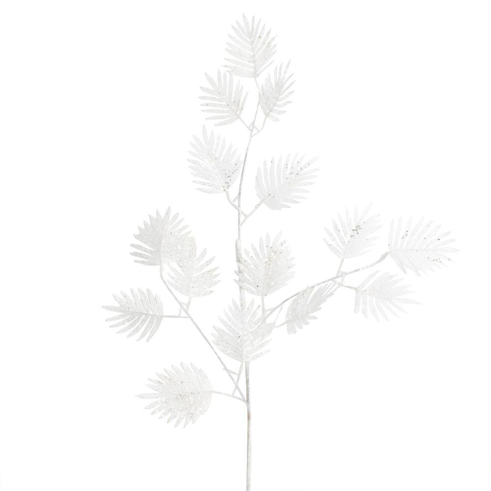 Branche de Noël feuilles de palmier blanches