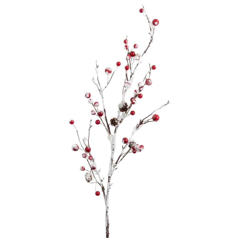 Branche de Noël feuilles enneigées et baies rouges