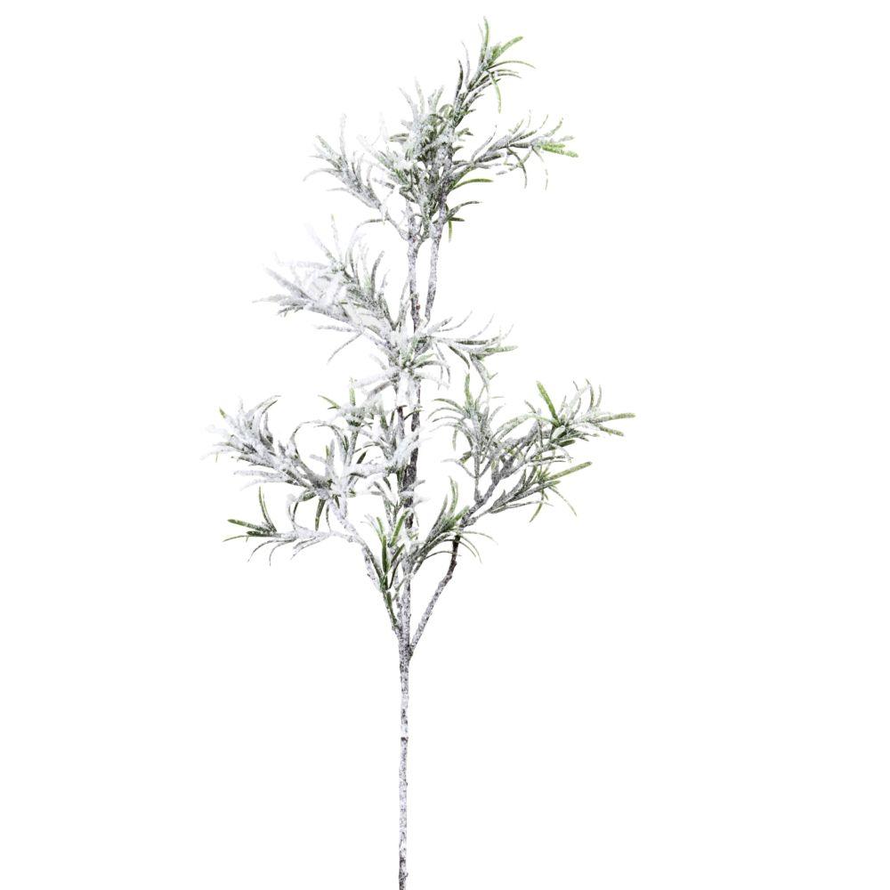Branche de Noël feuilles vertes effet neige