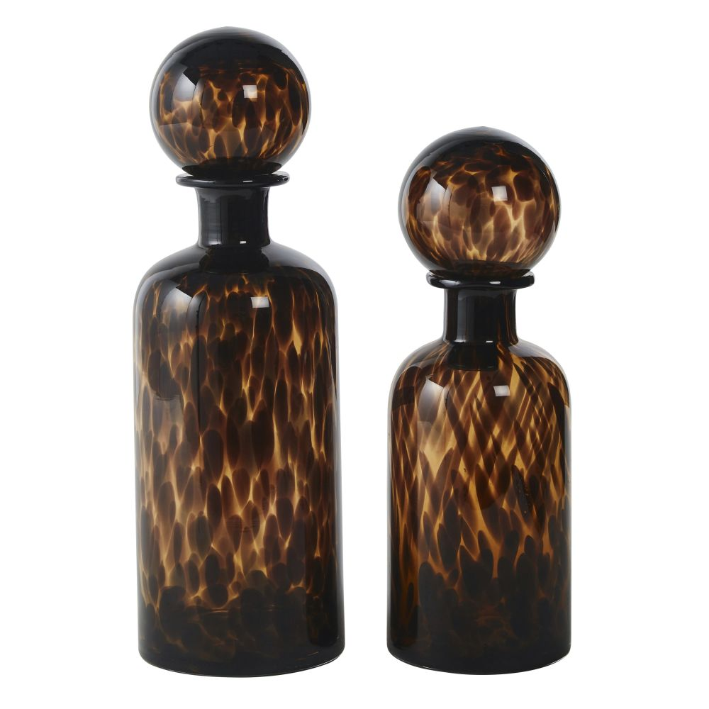 Bruine En Zwarte Getinte Glazen Decoratieve Flessen (x2) H35