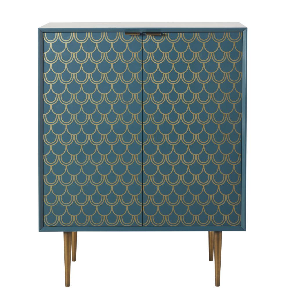 Buffet 2 portes bleu turquoise motifs graphiques dorés