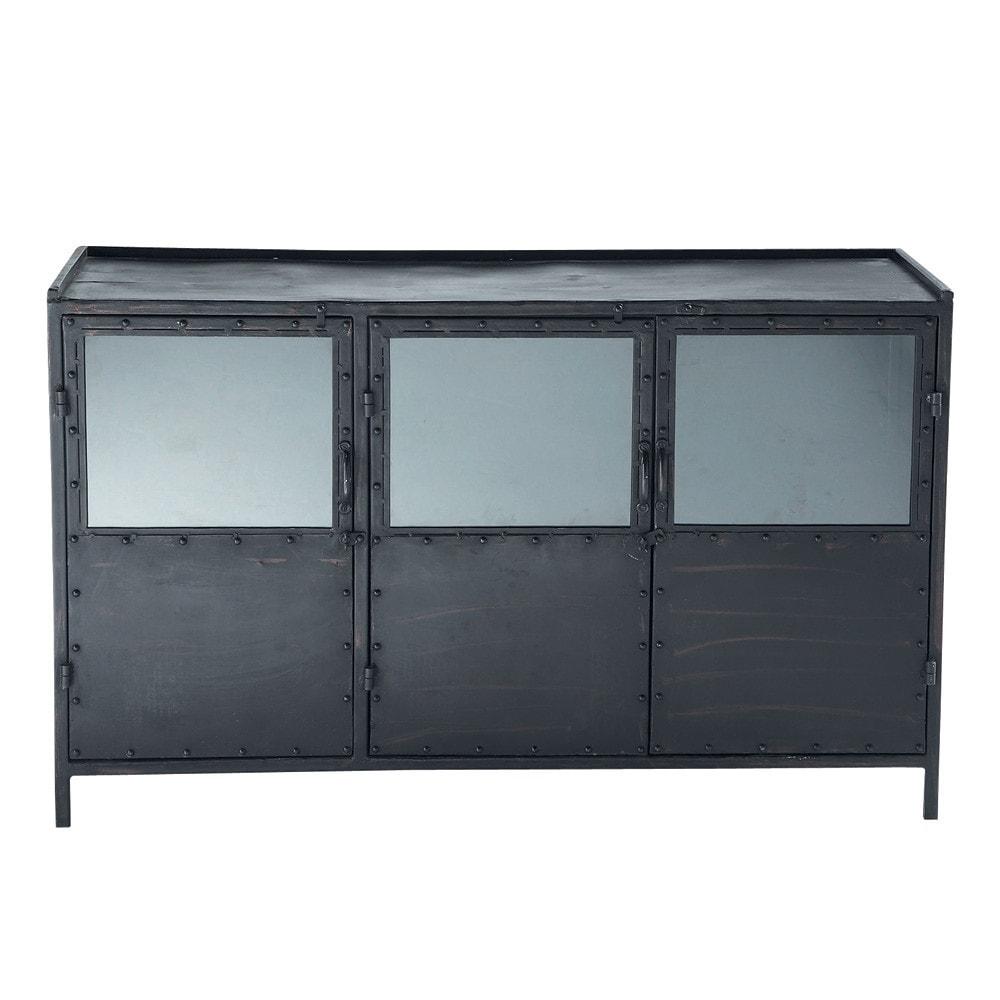 Buffet indus vitré en métal noir L 130 cm