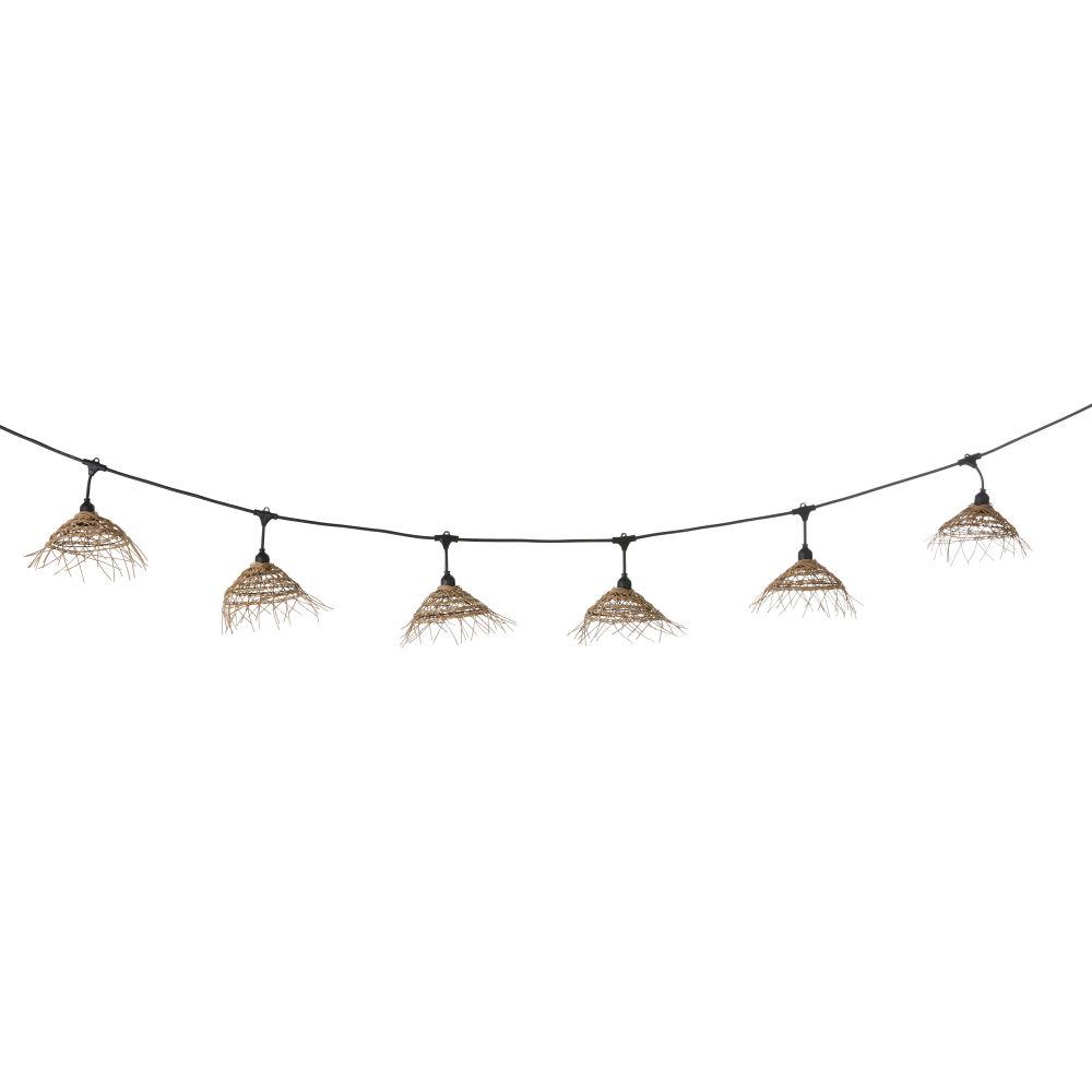 Buitenlichtslinger Met 10 Gevlochten Lampenkappen En Zwarte Kabel 6 M