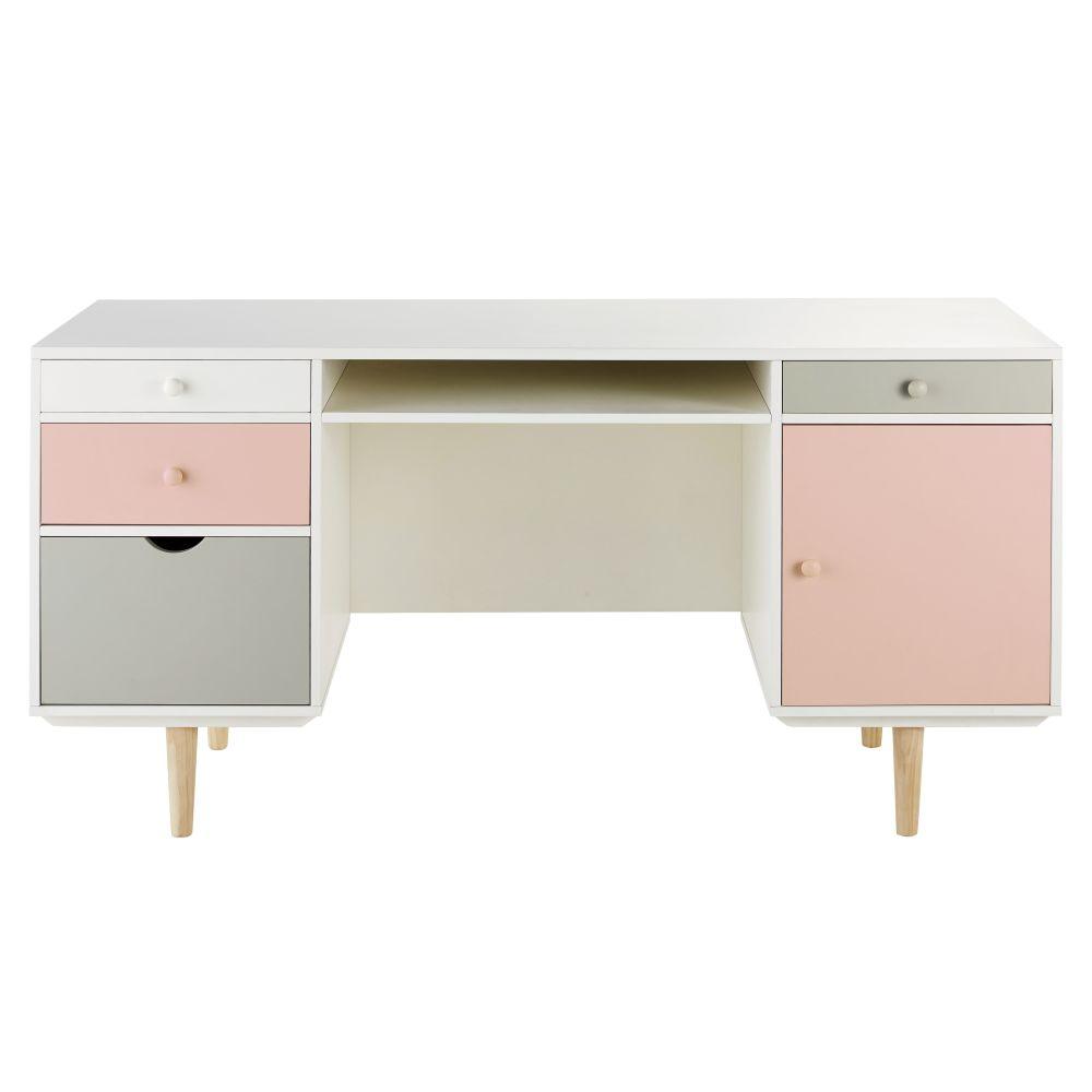 Bureau 1 porte 4 tiroirs blanc, gris et rose
