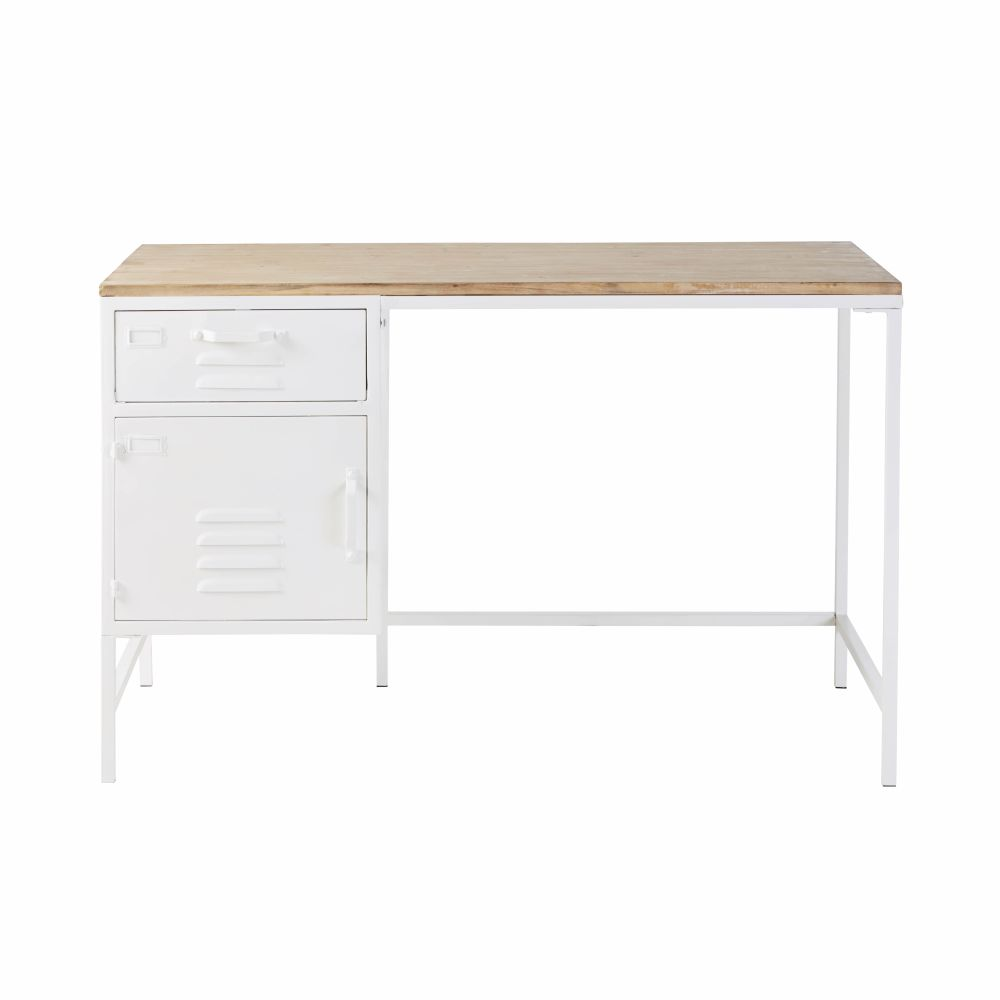 Bureau 1 tiroir 1 porte en métal blanc et sapin
