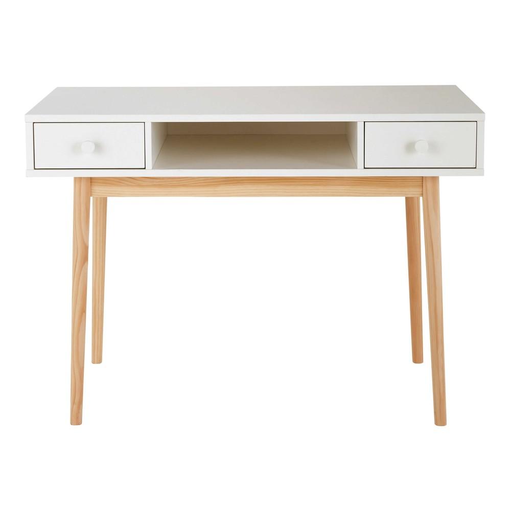 Bureau 2 tiroirs blanc