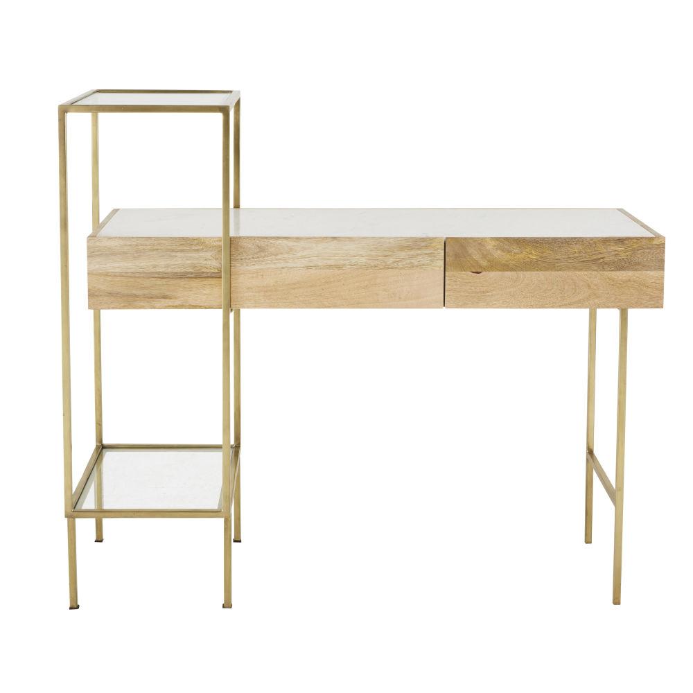 Bureau 2 tiroirs en marbre blanc et métal coloris laiton