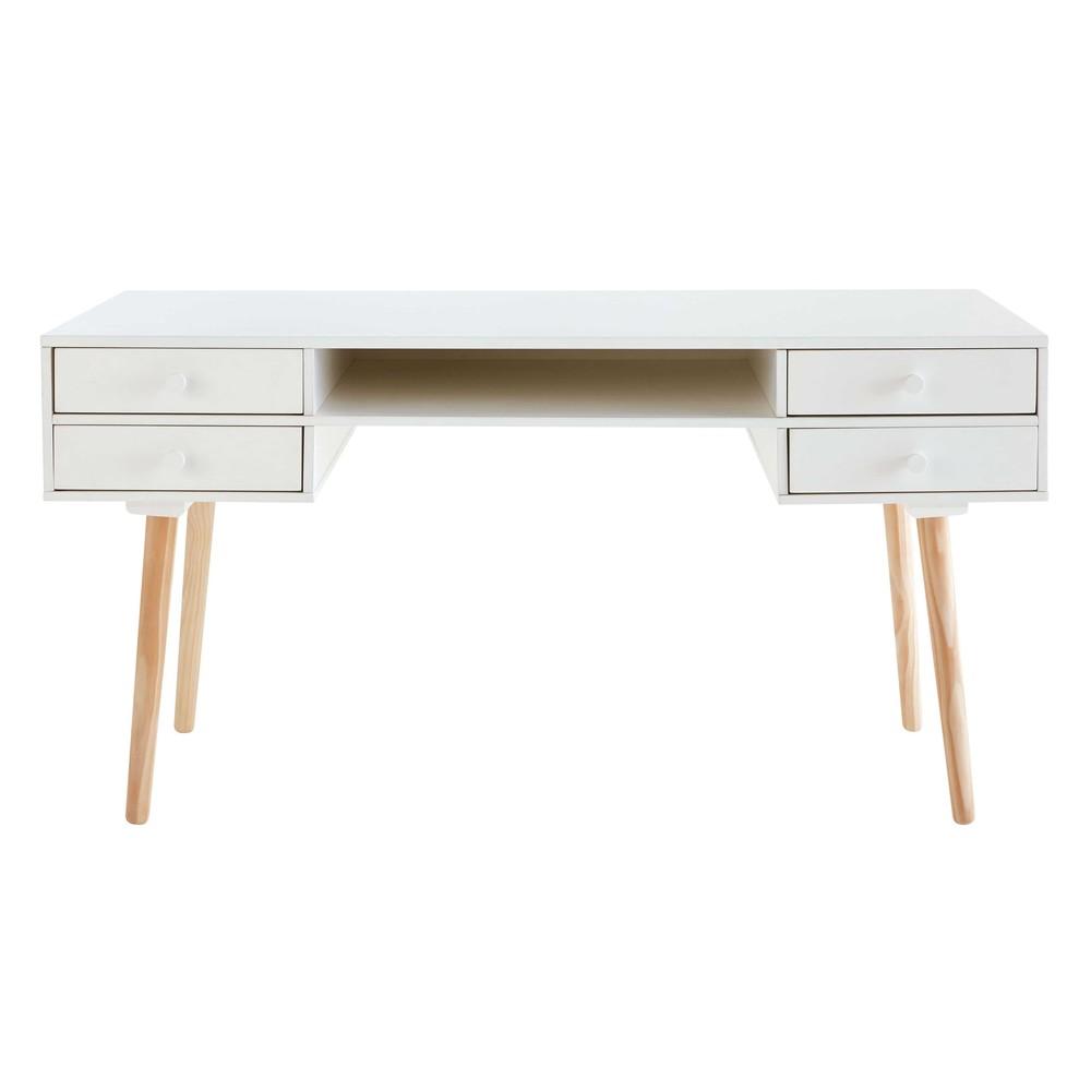 Bureau 4 tiroirs blanc