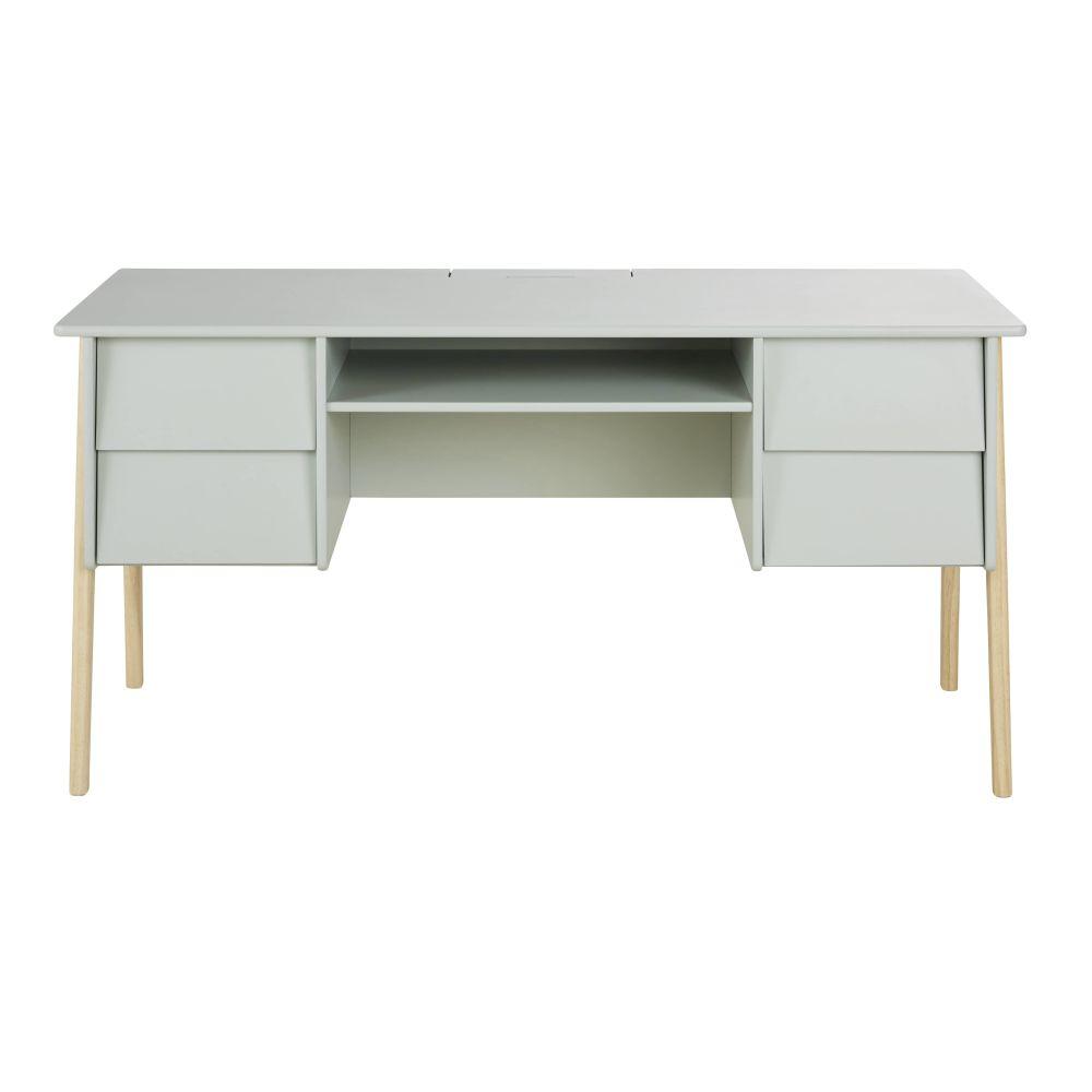 Bureau 4 tiroirs vert et pin
