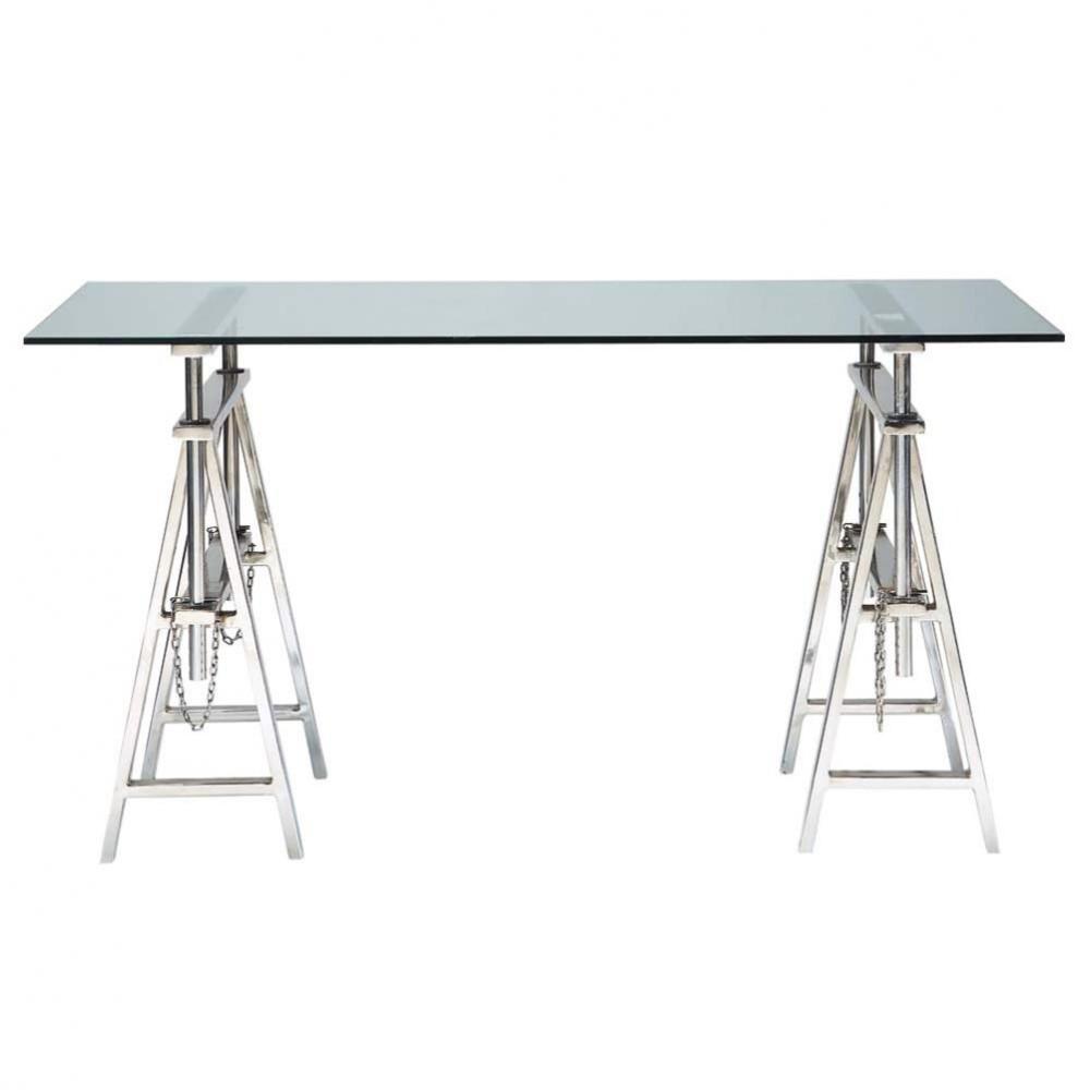 Bureau en verre et métal chromé L 150 cm