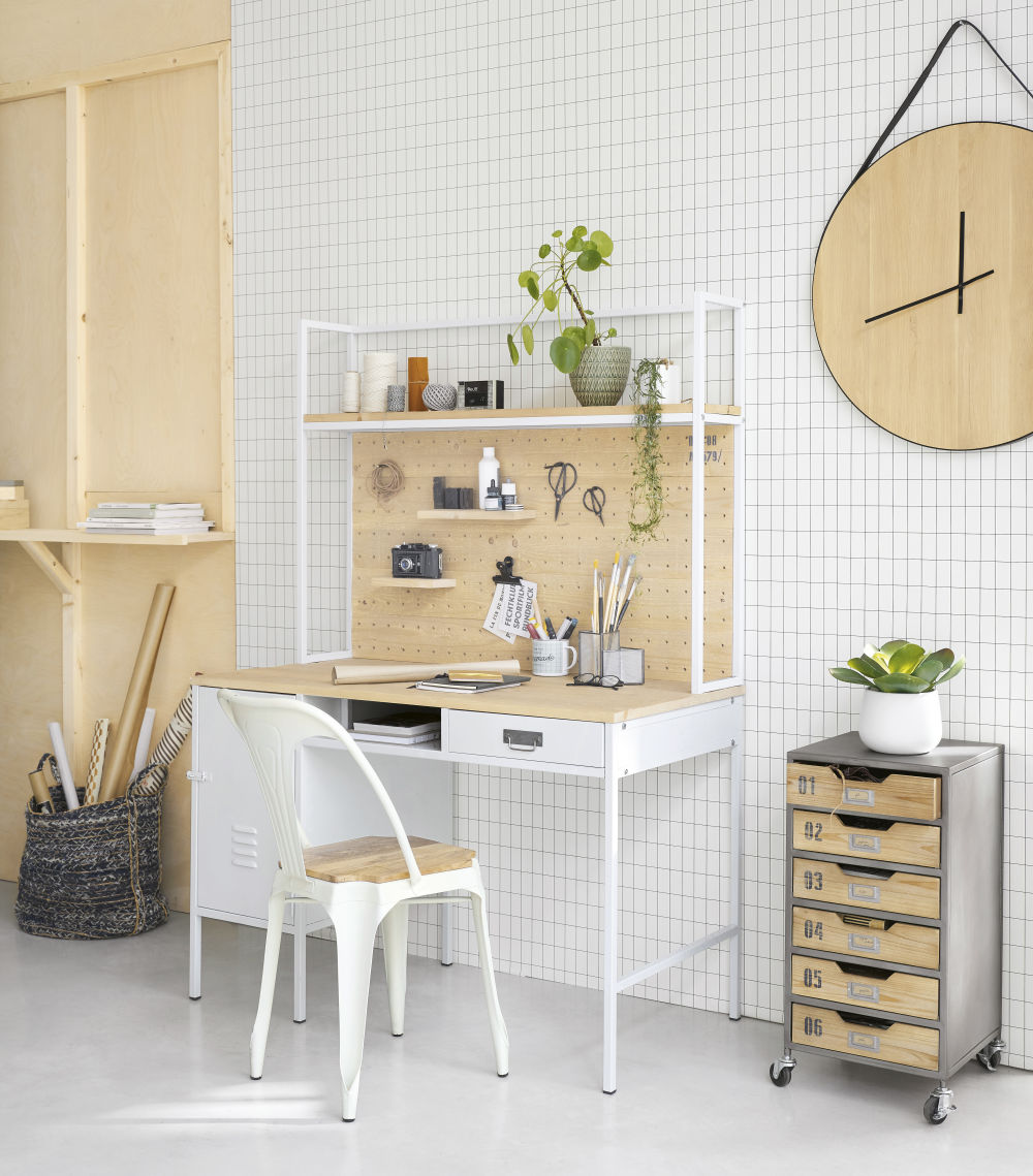 Bureau indus 1 porte 1 tiroir en métal et épicéa massif blanc