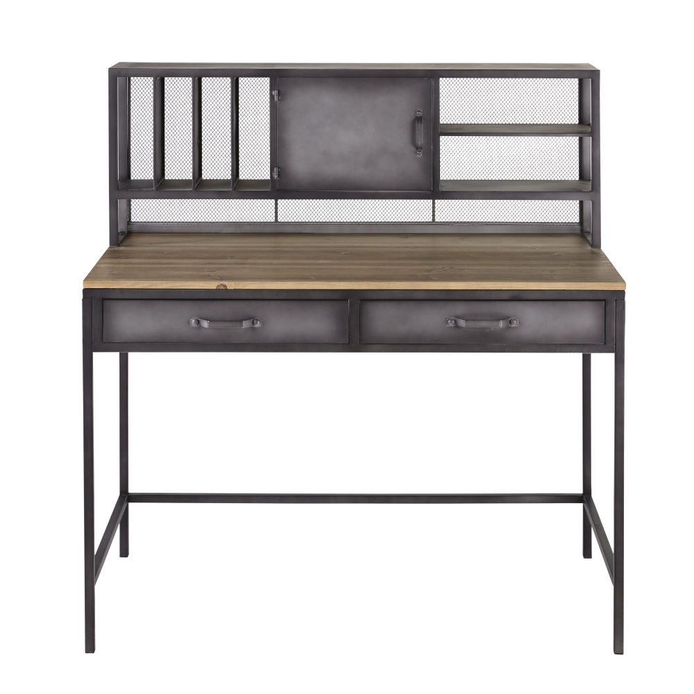 Bureau indus 1 porte 2 tiroirs en métal et sapin