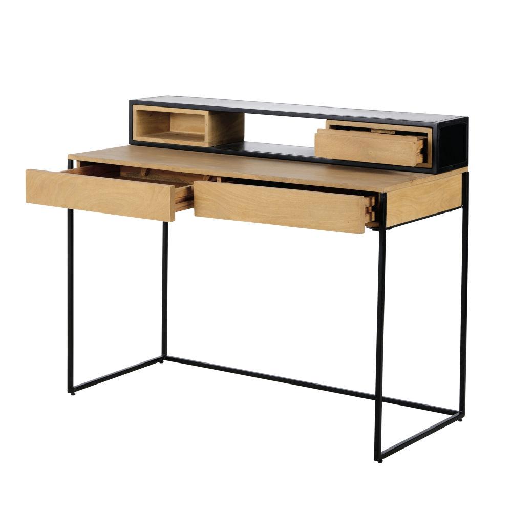 Bureau indus 3 tiroirs en métal noir