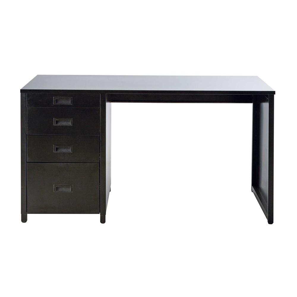 Bureau indus 4 tiroirs en métal noir