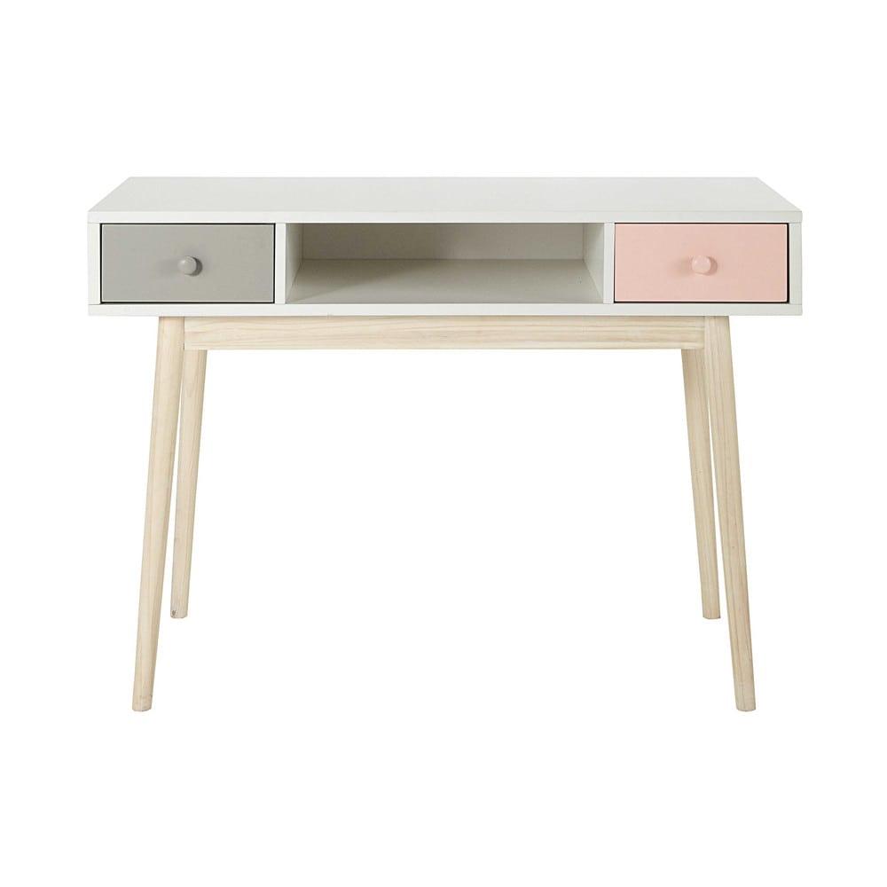 Bureau vintage blanc 2 tiroirs gris et rose