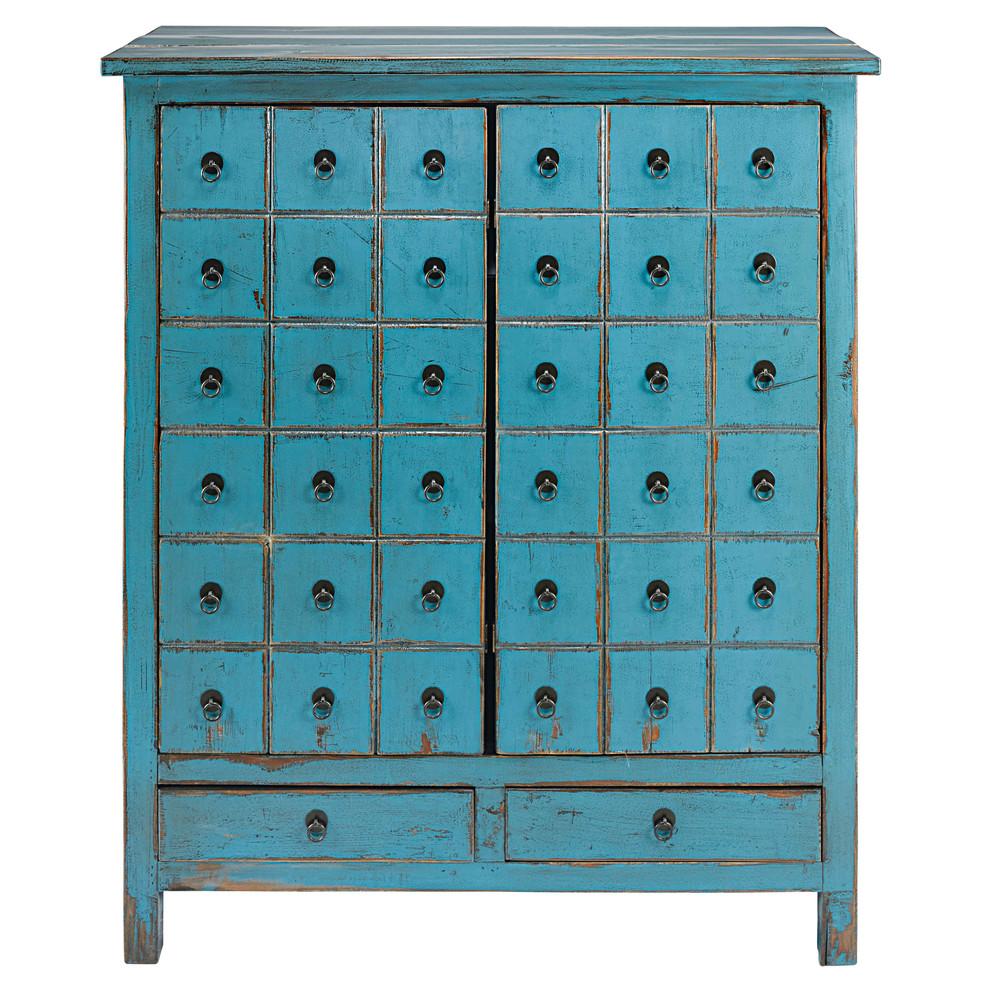 Cabinet 2 portes 2 tiroirs en sapin bleu vieilli