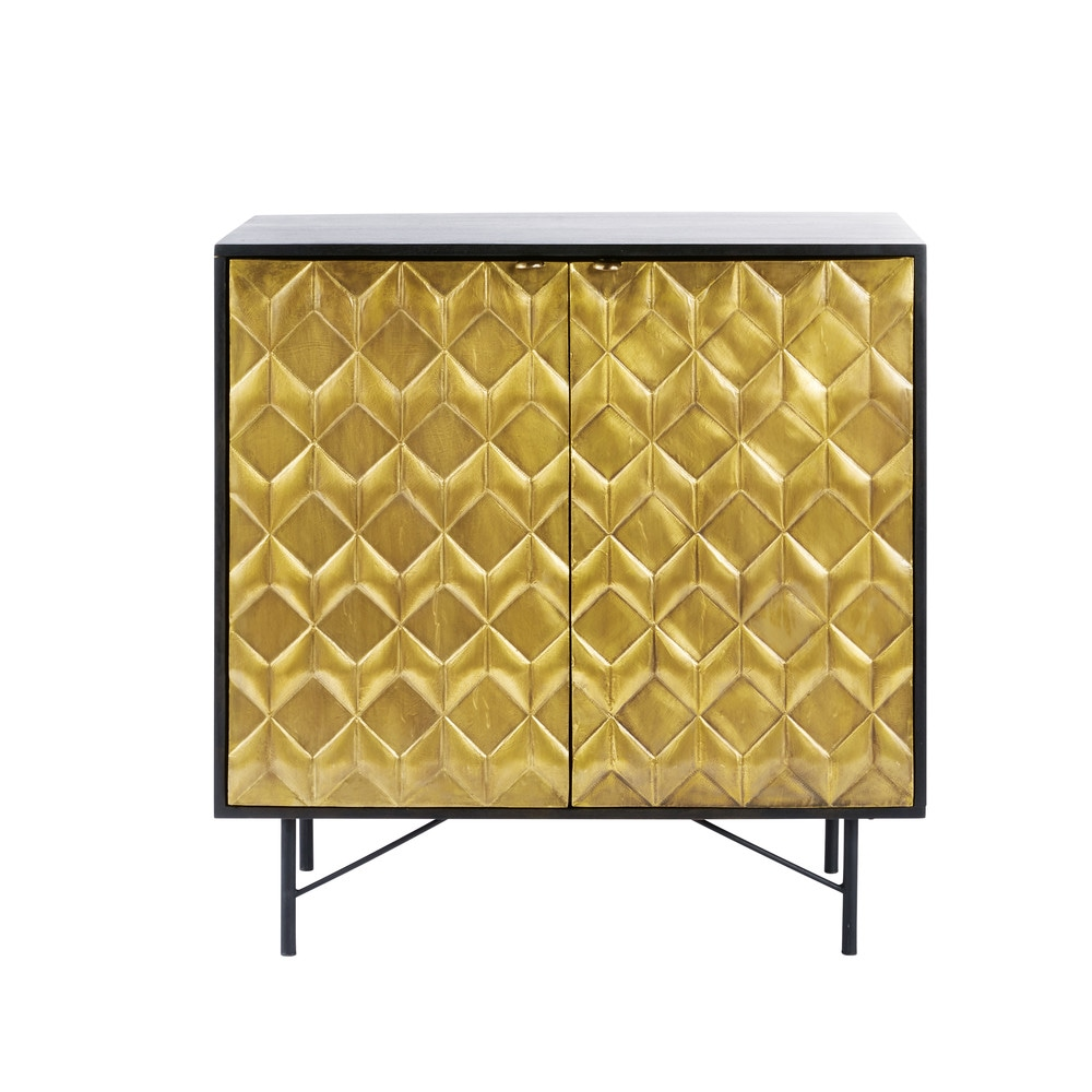 Cabinet 2 portes en manguier massif noir et acacia
