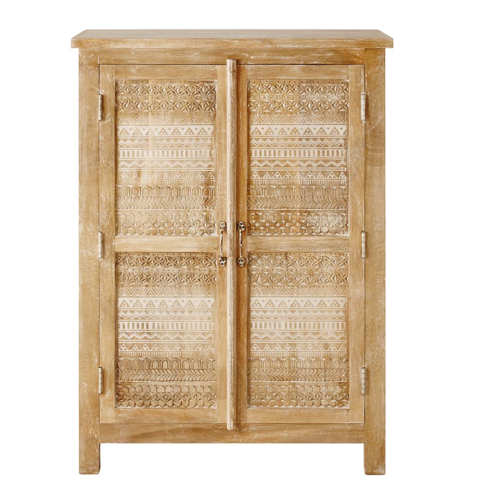 Cabinet 2 portes en manguier massif sculpté