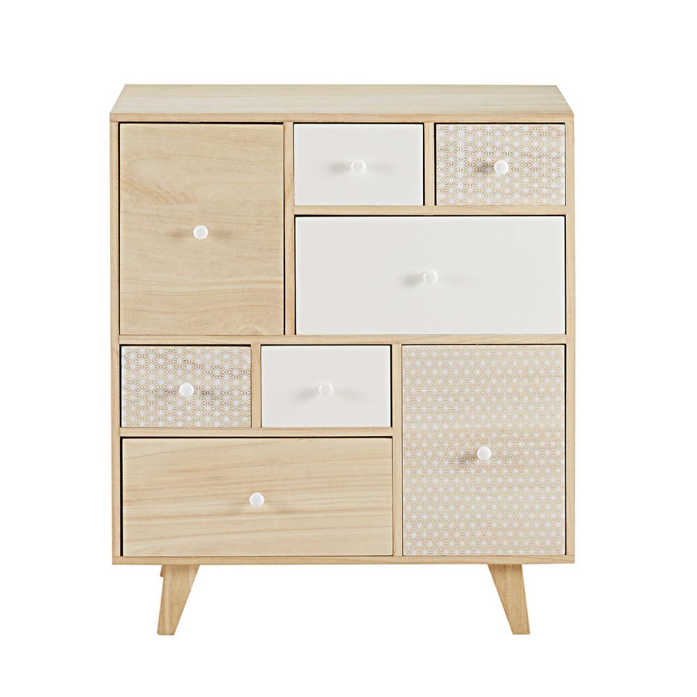 Cabinet 8 tiroirs en paulownia