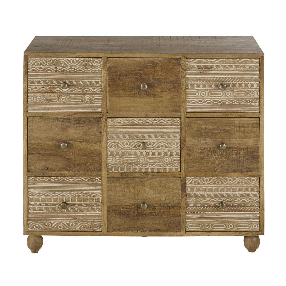 Cabinet 9 tiroirs sculptés, blanchis avec reflets cuivrés