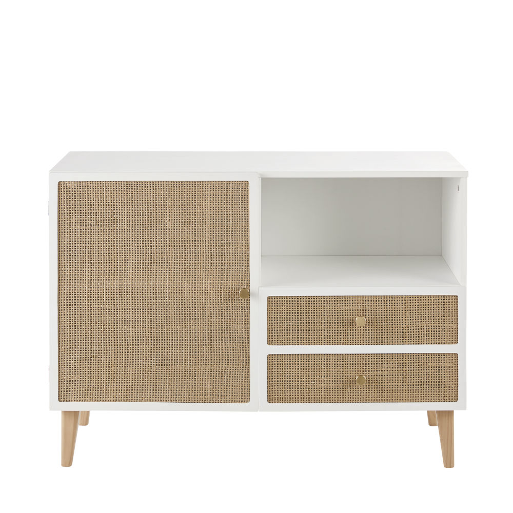 Cabinet de rangement 1 porte 2 tiroirs avec cannage en rotin