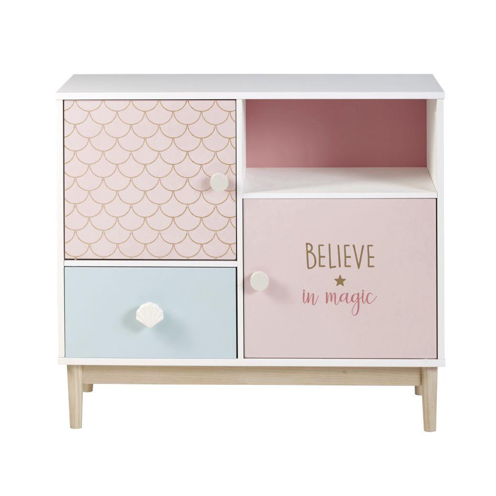 Cabinet de rangement 1 tiroir 2 portes blanc, rose et bleu (photo)