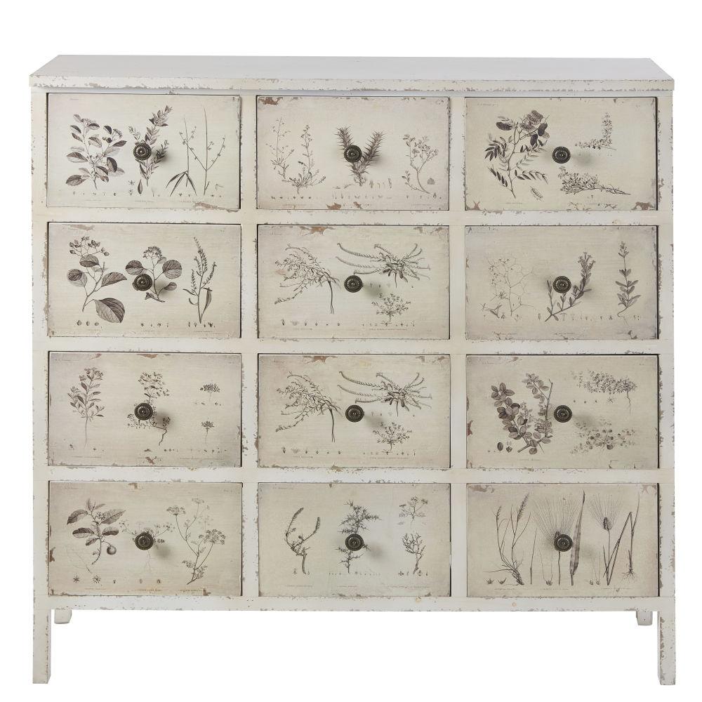 Cabinet de rangement 12 tiroirs imprimé floral ivoire