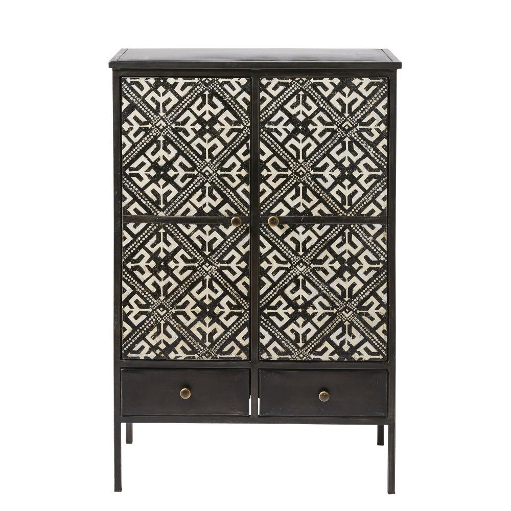 Cabinet de rangement 2 portes 2 tiroirs noir motifs ivoire
