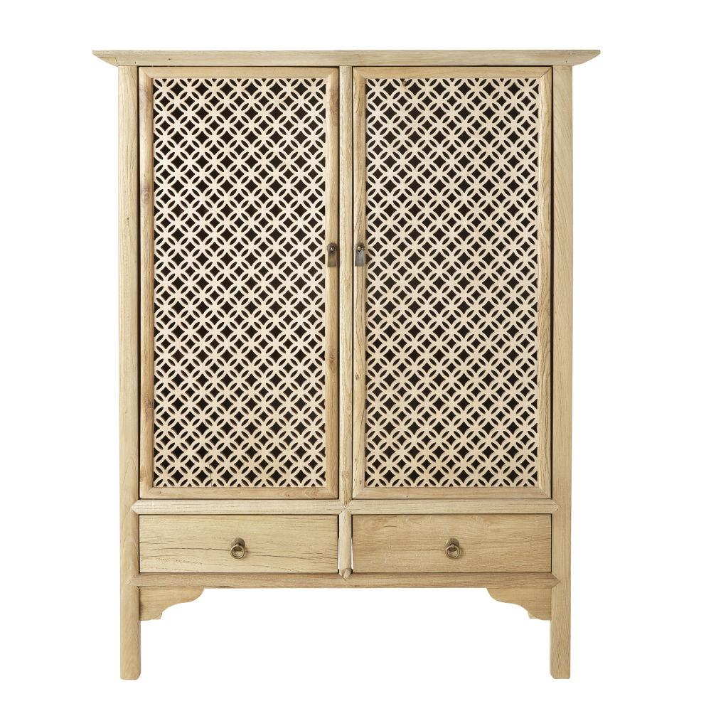Cabinet de rangement 2 portes 3 tiroirs en pin recyclé