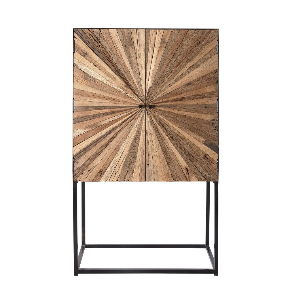 Cabinet de rangement 2 portes en bois recyclé et métal