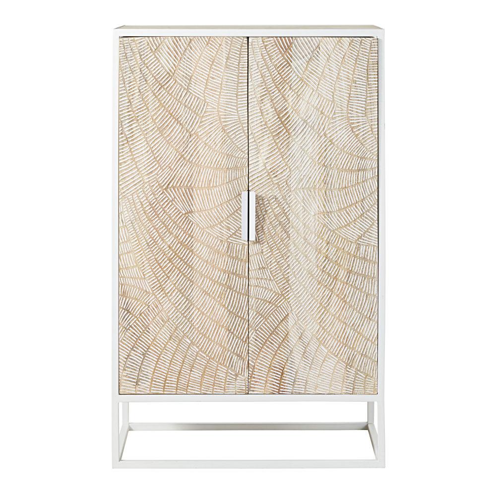 Cabinet de rangement 2 portes en manguier massif sculpté