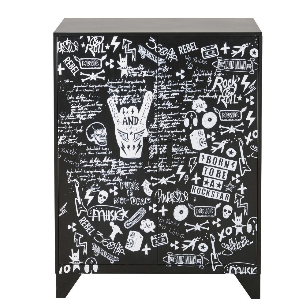 Cabinet de rangement 2 portes en métal noir imprimé