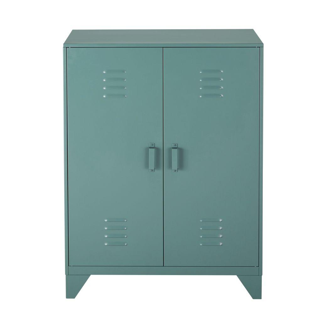 Cabinet de rangement 2 portes en métal vert