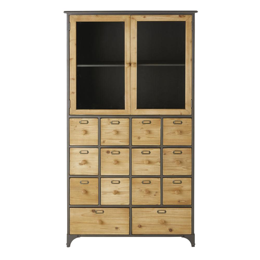 Cabinet de rangement 2 portes en verre trempé et 14 tiroirs noir